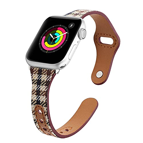 KAEGREEL Correa Compatible con Apple Watch 40 mm 38 mm para Mujeres/Hombres, Correa de Repuesto Elegante de Nailon Ajustable elástico para Apple Watch SE/iWatch Series 6 5 4 3 2 1,42mm/44mm