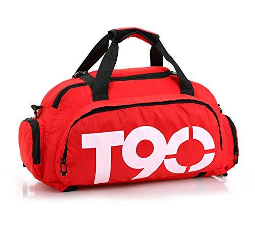 Sporttas voor dames en heren, dubbele rug, schoudertas, yoga-tas met schoentas, rood