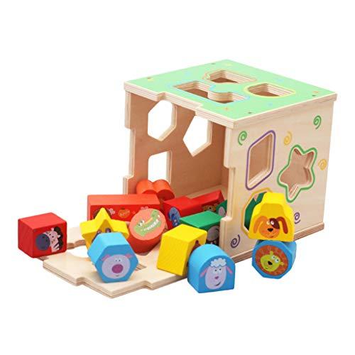 Steckwürfel Steckbox aus Holz, 16-teilig, Kinder Holzspielzeug trainiert Motorik, Lernspielzeug zur Förderung von Formerkennung und Konzentration