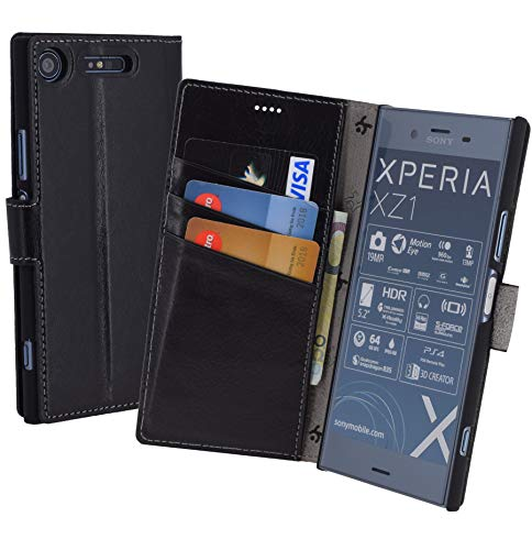 Suncase Book-Style (Slim-Fit) für Sony Xperia XZ1 Ledertasche Leder Tasche Handytasche Schutzhülle Case Hülle (mit Standfunktion und Kartenfach) schwarz