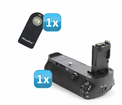 Meike - Impugnatura portabatteria professionale per Canon EOS 5DS, 5DS R, 5D Mark III come BG-E11 + 1 telecomando a infrarossi