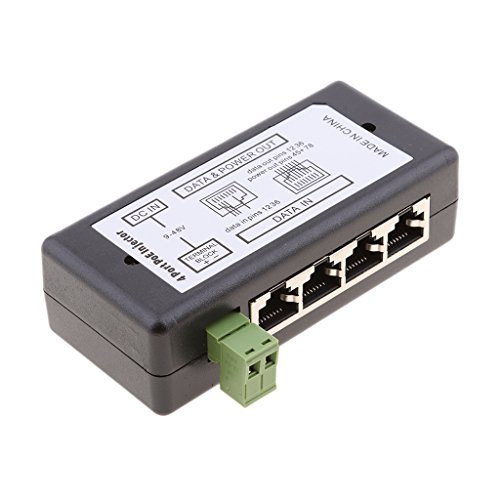 Sharplace - Lote de 2 adaptadores para inyector de módulo PoE (12-48 V, 4 + 8 Puertos, Adaptador de alimentación