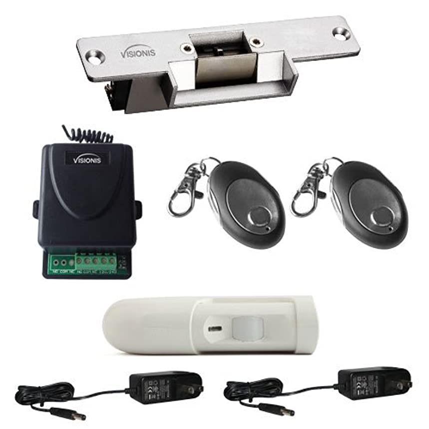 Visionis FPC-5347 One Door Access Control with VIS-EL101-FSA Normaly Closed Electric Strike with Wireless Receiver - Remote and PIR Kit