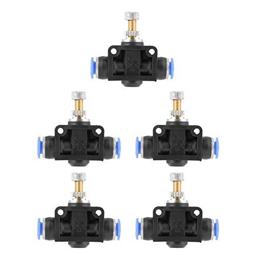 Conector neumático de válvula de flujo neumático, 5 unidades, conector neumático de válvula de control de flujo de aire del controlador de velocidad, 6 mm