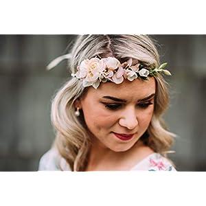 10-01 Blumenkranz Blüten Haarschmuck Braut Hochzeit wedding Hairdress Boho Vintage Diadem Brautkleid Perlen flowers in…