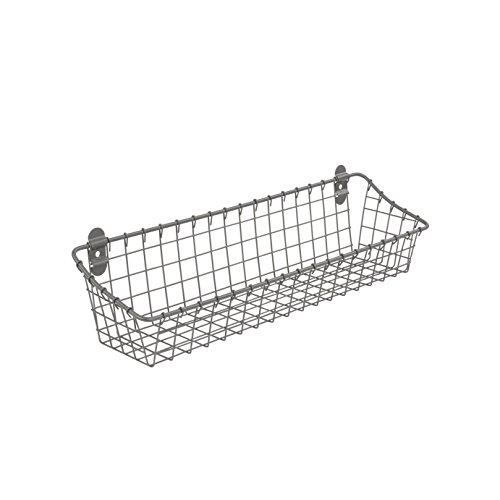 Spectrum Diversified Vintage Cabinet & Wall-Mounted Wall Basket for Storage & Organization, Rustic Farmhouse Decor, Sturdy Steel Wire Storage Bin, Medium, Industrial Gray
