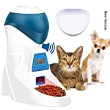 Jnwayb Automatic Pet Feeder Food Dispenser with Replacement Bowl 6 Meals per Day for Dogs Cats & Small Animals, Portion Control & Voice Recording Timer Programmable Batteries and Power Adapter Support