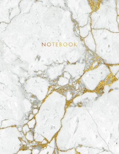 Notebook: Beautiful White Marble with Gold Inlay and Gold Lettering - Marble & Gold Journal | 150 College-ruled Pages | 8.5 x 11 - A4 Size (Marble and ... - Journal, Notebook, Diary, Composition Book)