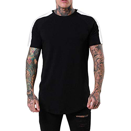 Leegor Men's Solid Crewneck Blouse Slip Shoulder T-Shirts Short Sleeve Stitching Two Color Fast Dry Tops