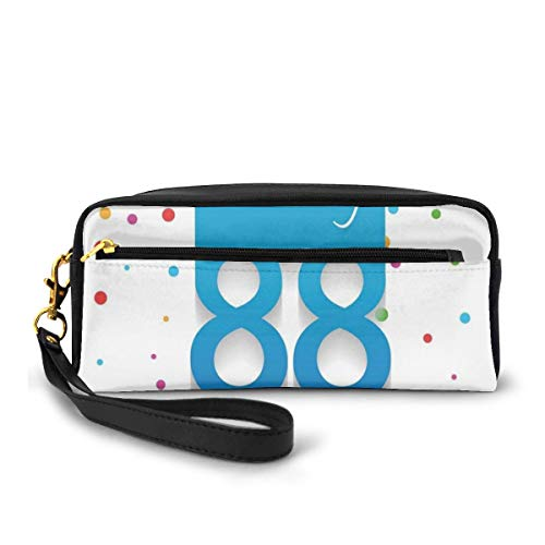 Pencil Case Pen Bag Pouch Stationary,Celebration Letters on Polka Dots Points Backdrop Stylish Pattern,Small Makeup Bag Coin Purse
