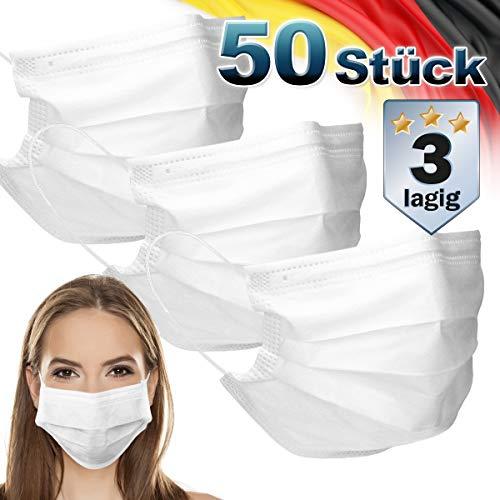 ECD Germany 50 Stück Mundschutz Maske Einweg Gesichtsmaske für Erwachsene Weiß 3-lagig Schutz atmungsaktive Mundschutzmaske mit Ohrschlaufen und Nasenbügel Mund-Nasen-Schutz Schutzmaske Einwegmaske