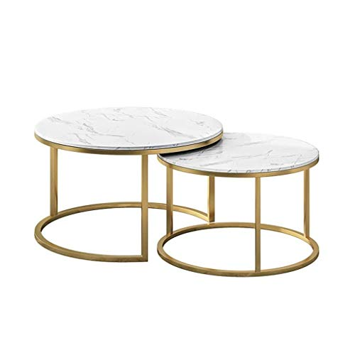 Mesa de centro sencilla 2 Piece mesas nido de café de apilamiento tablas de base de oro redonda Mesa auxiliar de metal for muebles for la sala, 60cmx40cm / 80cmx45cm Salón mesa auxiliar de ocio mesa d