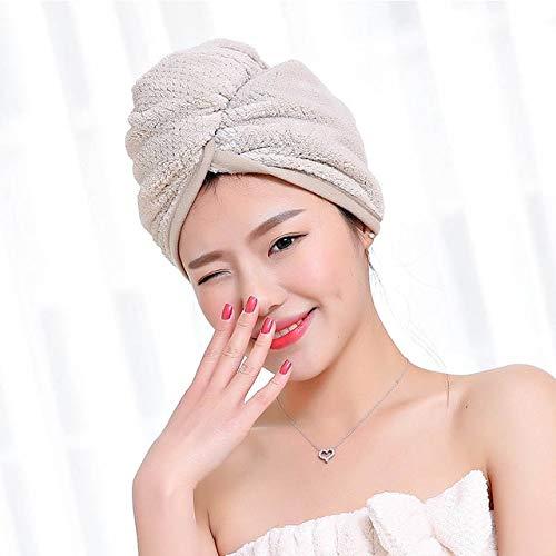 MAWA 23 *60 cm 1 PiezaToallas de Secado rápido Tela de Microfibra Cabello seco Sombrero Gorro de Ducha Turbante para MujerToalla de baño Absorbente - Caqui23x60cm