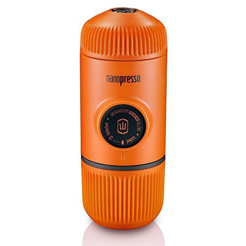 WACACO Nanopresso przenośny ekspres do espresso, ulepszona wersja minipresso, ciśnienie 18 barów, mały podróżny ekspres do kawy, obsługiwany ręcznie, kompatybilny z mieloną kawą, Pomarańczowy