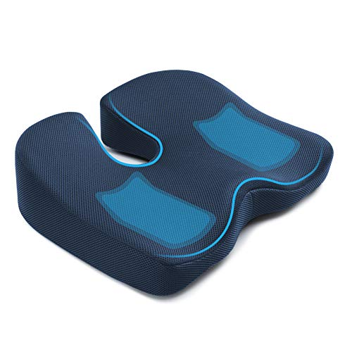 Seat Cushion for Office Chair, Mkicesky Memory Foam Coccyx Cushion Relieve Tailbone, Lower Back, Hip, Sciatica Pain, Ergonomic Seat Pad for Car, Wheelchair, Desk Chair and Sitting on Floor