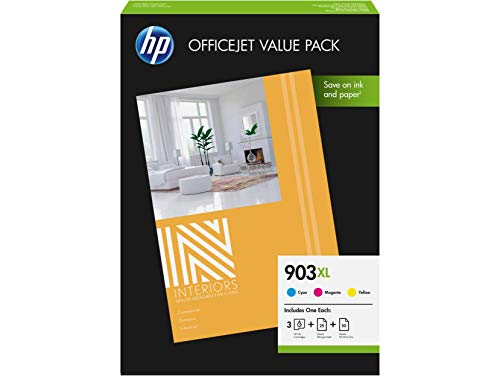 HP 903XL 1CC20AE Confezione Convenienza per Ufficio, Contiene 3 Cartucce Colore e 75 Fogli A4, Compatibile con Stampanti OfficeJet 6950, OfficeJet Pro 6960 e 6970, Ciano, Giallo e Magenta