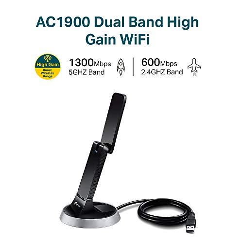 TP-Link Archer T9UH AC1900 Dualband WLAN USB Adapter (bis zu 1300Mbit/s (5GHz) und 600Mbit/s (2,4GHz), Beamforming, USB 3.0, WPS Taste, USB Docking-Basis, High-Gain Antenne), schwarz/ silber