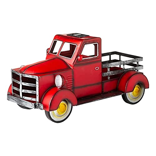SANGSHI Macetero solar Pickup para camión, pequeño camión, con luz de coche, estilo retro, vintage, para escritorio,...