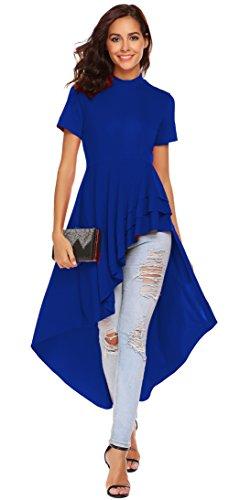 SimpleFun Womens Ruffle High Low Asymmetrical Short Sleeve Bodycon Tops Blouse Shirt Dress (M, Royal Blue)
