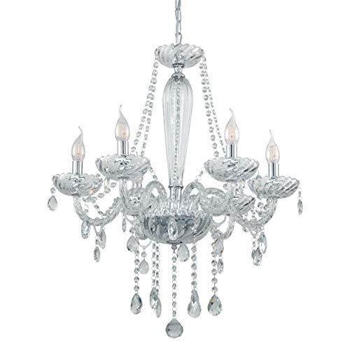 EGLO Pendelleuchte Basilano 1, 6 flammiger Kronleuchter Vintage, Shabby Chic, Hängelampe aus Stahl und Glas in chrom, Klar, Esstischlampe, Wohnzimmerlampe hängend mit E14 Fassung