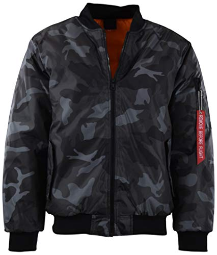 Mens Premium Quality Bomber Flight Jacket (L, 5308-Charcoal Camo)