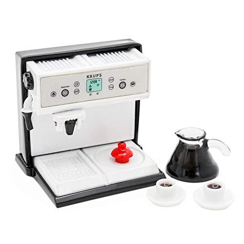 Odoria 1/12 Miniatur Kaffeemaschine mit kanne und 2 Tassen Puppenhaus Küche Zubehör