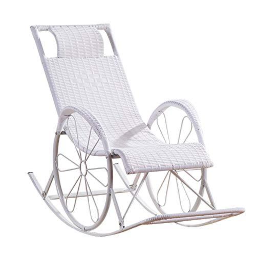 Liege im Freien White Rattan Sunlounger Reclining Zero Gravity Recliner Sun Loungers Stuhl Entspannen Sie Schaukelstühle Garden Recliner Sunbed Sling Chair für Patio Living Room