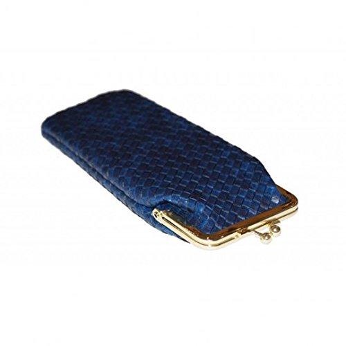 platte brillenkoker/brillenkoker/bril etui donkerblauw, bordeaux, geel (donkerblauw)
