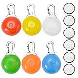 ZITFRI 6Pcs Collar LED Luz Perro, Luz Collar Luminoso Perro Impermeable, 6 Colores Luces de Seguridad para Perro Gato, Colgante LED Luz Perro Mascota para Noche, 3 Modos de Parpadeo, 6 Pilas Incluidas
