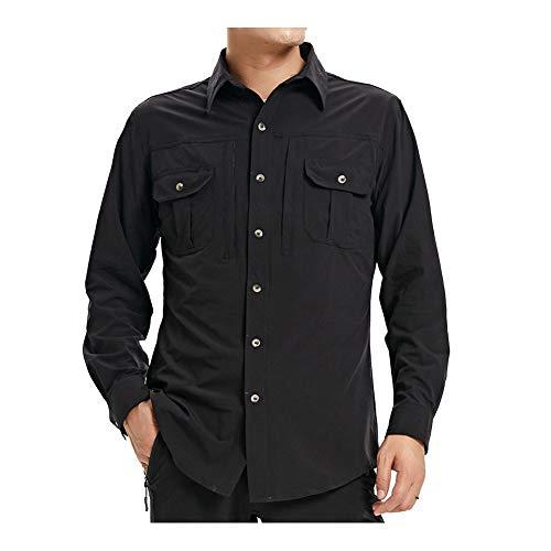 Lanbaosi Herren-Wandershirt, schnelltrocknend, langärmelig, Sonnenschutz, leicht, Workout-Angel-Shirt Gr. M, Schwarz