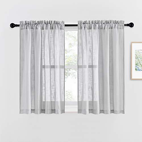 """NICETOWN Linen Like Sheer Curtains - Country Style Semi Voile Small Window Drapes Privacy with Amount of Light for Basement/Farmhouse (Grey, 52"""" Width, 45"""" Length, 1 Pair)"""