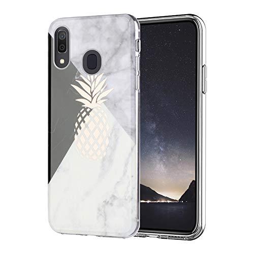 Misstars Hülle für Galaxy A20E, Bling Glitzer Geometrischer Marmor Muster TPU Silikon Weiche Schutzhülle Slim Handyhülle Kompatibel mit Samsung Galaxy A20E, Ananas