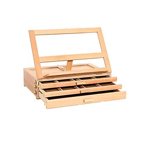 Caballete de madera para cajón de escritorio con clip de almacenamiento para bosquejo, pintura al óleo, agua, pastel, de madera pintada a mano, color natural, tamaño