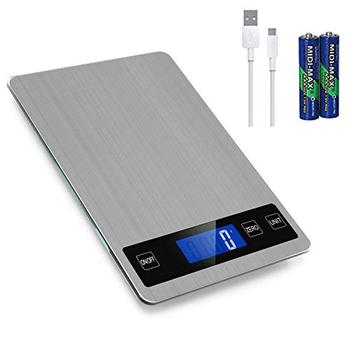 Rechargeable Food Scale 33lb Digital Kitchen Scale Weight Grams and oz for Cooking Baking 1g01oz Precise Graduation Stainless Steel and Tempered Glass