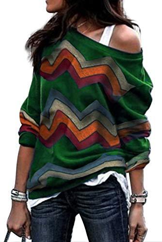 Sudadera Sin Hombros Mujer Bohemia Hippie Chic Camisa Estampado Etnico Jersey Geometrico Sweatshirt Hip Hip Swag Pullover Off Shoulder Sueter Camiseta Otoño Invierno Casual Baggy Jumper Top Streetwear