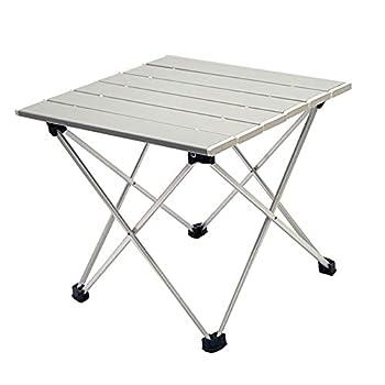 N\C Table de camping pliante portable légère en aluminium gris