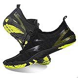 Chaussures Aquatiques pour Hommes et Femmes sécher Rapidement Chaussures de Plage Outdoor & Indoor Chaussures de Sport Randonnée Escalade Marche Barefoot Shoes,001 Noir Vert,42 EU