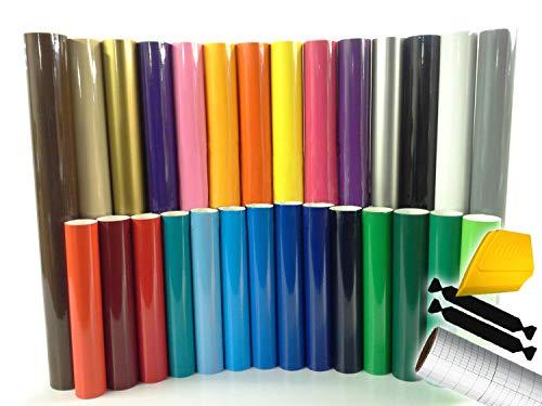 ORACAL 651 Multi-Color Vinyl Starter Kit Bundle for Cricut, Silhouette & Cameo Incl. 3M Installation Toolkit (15 rolls)