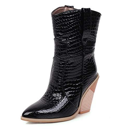 WUSIKY Stiefeletten Damen Bootsschuhe Boots Geschenk für Frauen Fashion Leder rutschfeste Keile Schuhe Spitz Cowboy Ankle Boots (Schwarz, 35 EU)
