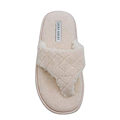 Laura Ashley Ladies Plush Spa Thong Strap Slippers With Memory Foam Insole