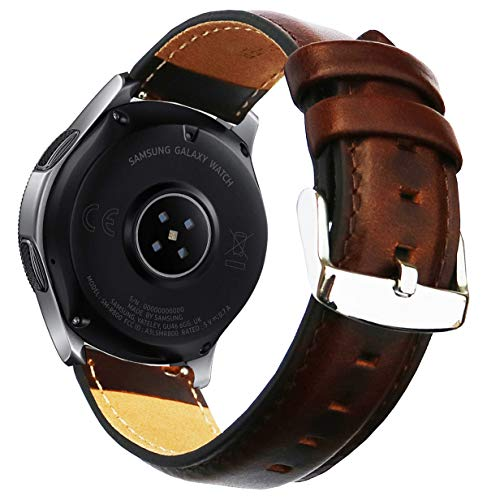 OTOPO for Galaxy Watch3 45mm Bands/Galaxy Watch 46mm Bands, 22mm Quick Release Genuine Leather Replacement strap with Stainless Steel Buckle for Samsung Galaxy Watch 3 45mm Smartwatch- Brown