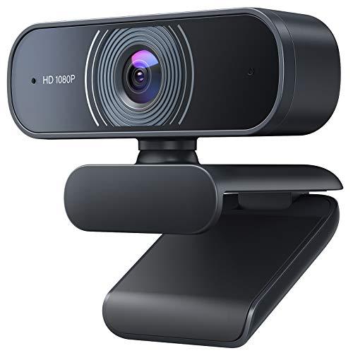 Crosstour Webcam, Webcam per PC 1080P Full HD Videocamera con Microfono Riduzione del Rumore, USB 2.0 Correzione Automatica Luminosità, Windows/Mac/Android