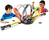 Hot Wheels Roto Revolution Circuit Interactif Ultra-Rapide, Coffret de Jeu pour Petites Voitures, 2 lanceurs et 2 Véhicules Inclus, Jouet pour Enfant, FDF26