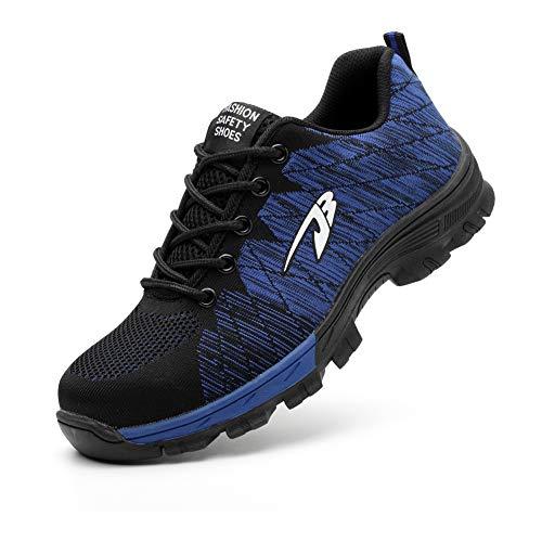 Zapatos de Seguridad para Hombre Mujer con Puntera de Acero Zapatillas de Seguridad Trabajo Calzado de Industrial y Deportiva 0058JBblue38