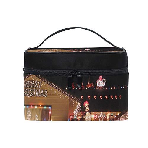 Sac de maquillage Nuit de Noël Beau jardin Sac cosmétique Grand sac de toilette portable pour femmes/filles Voyage