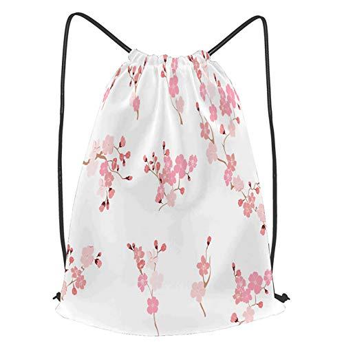 YMWEI Impermeable Bolsa de Cuerdas Saco de Gimnasio mano libre conjunto de vectores de flores de sakura Deporte Mochila para Playa Viaje Natación