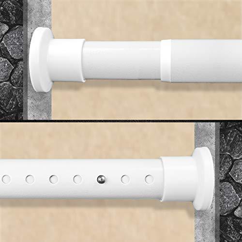 HoFactory Rostfreie Gardinenstange ohne Bohren 210-260cm, Ø32mm Weiß belastbare Klemmstange zum Ausziehen - Vorhangstange, Teleskopstange - für ihre Gardinen, Trennwand und Balkon