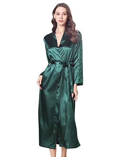 FEOYA Negligee Satin Damen Lang Zweiteilige Nachtkleid und Kimono Set Pyjama Robe Lang Damen Nachthemd mit Morgenmantel Set M Grün