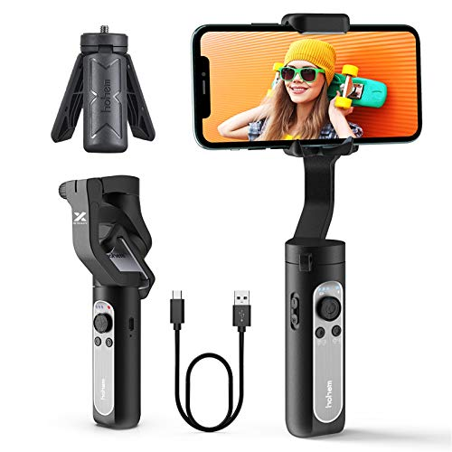 Hohem 3-Axis Gimbal Stabilizer - Foldable Smartphone Gimbal w/ 3D Auto Inception & Face Tracking, Handheld Stabilizer for iPhone 12 Pro Max/Android 6.0 for Vlog Video Recording iSteady X (0.59 Lbs)