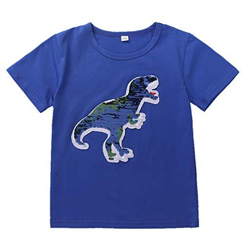 Camiseta de Manga Corta Dinosaur Flip Sequin Girl Boy Kids (Tamaño 3-8 años) (110, Azul)